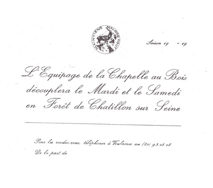 Equipage de La Chapelle au Bois - Tiré de l'ouvrage Deux Siècles de Vènerie à travers la France - H. Tremblot de la Croix et B. Tollu (1988)