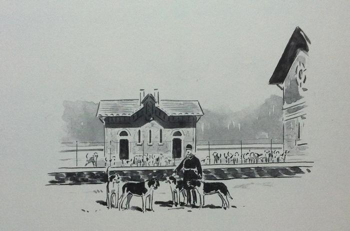 Au chenil - Illustration tirée de l'ouvrage La Vénerie française contemporaine (1914) - Le Goupy (Paris)