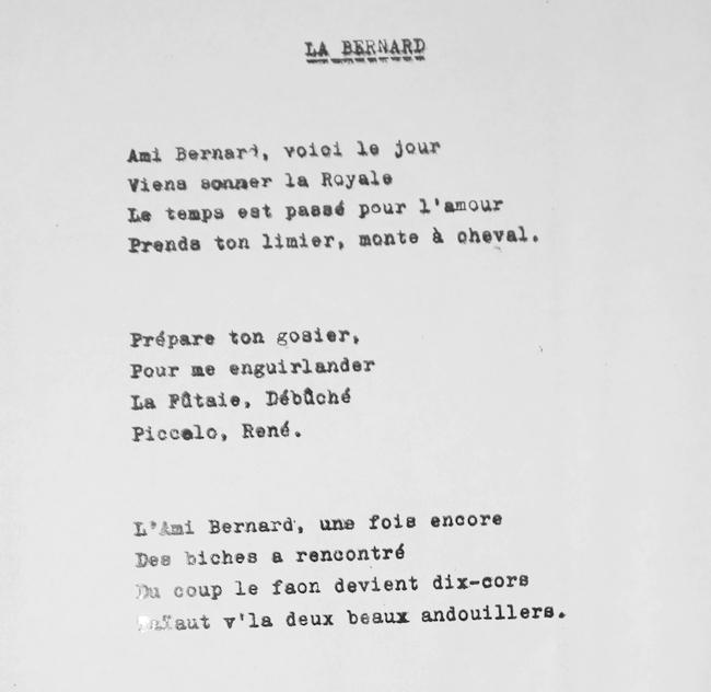 Paroles de La Bernard