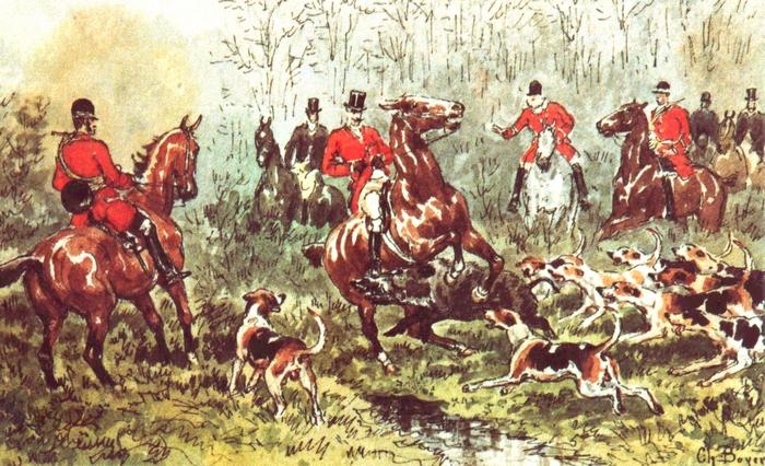Le grand-duc Nicolas de Russie chargé par le sanglier - Collection A.-P. Baudesson - Don à la Société de Vènerie