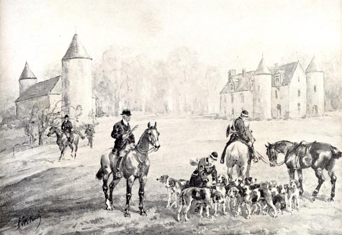 Devant le château de Persac - L'équipage d'Emile de La Besge par Karl Reille - Société de Vènerie