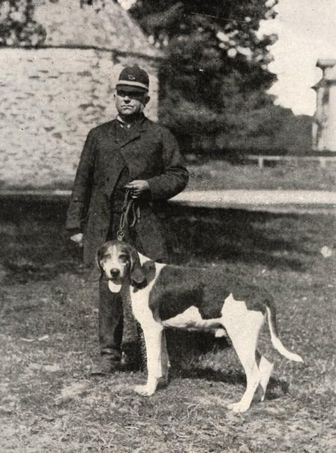 Le piqueur Chauveau avec Sobriquet, chien Levesque - BnF (Gallica)