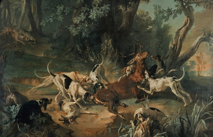 Hallali de cerf par Jean-Baptiste Oudry (XVIIIe siècle) - Reproduction - Don à la Société de Vènerie
