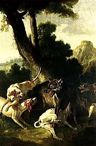 L'Hallali du loup - XVIIIe siècle - © RMN - Joconde - Musée national des châteaux de Versailles et de Trianon - Arnaudet - J. Schormans