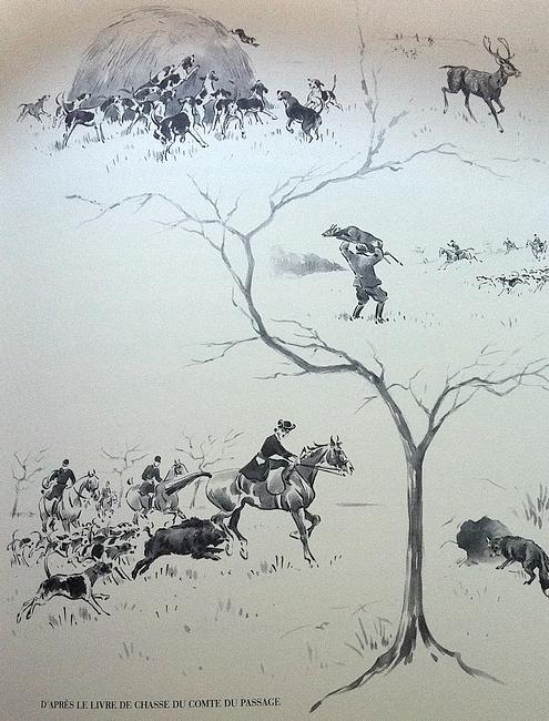Illustration tirée de l'ouvrage La Vénerie française contemporaine (1914) - Le Goupy (Paris)