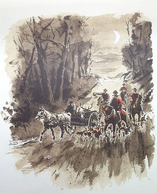 Retour de chasse chez le comte Ch. de la Guiche - Tirée de Les Hommes des Bois (2008) - R. d'Osmond - Bibliothèques des introuvables (Paris)