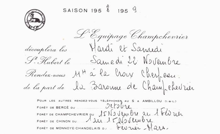 Champchevrier - Tiré de l'ouvrage Deux Siècles de Vènerie à travers la France - H. Tremblot de la Croix et B. Tollu (1988)
