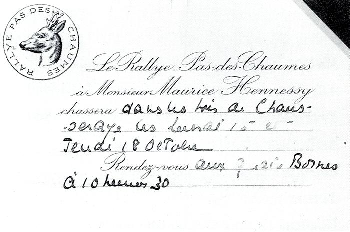 Carton d'invitation - Tiré de l'ouvrage Deux Siècles de Vènerie à travers la France - H. Tremblot de la Croix et B. Tollu (1988)