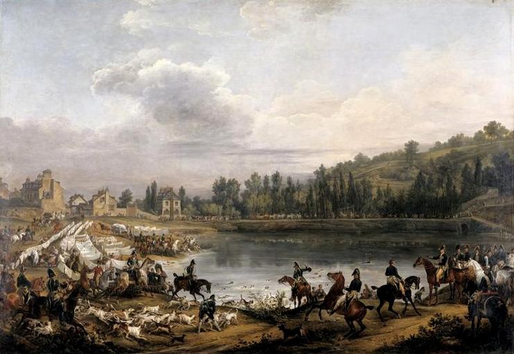 Chasse au daim pour la Saint-Hubert en 1818, dans les bois de Meudon - Vers 1825 - © Joconde - RMN - Musée du Louvre