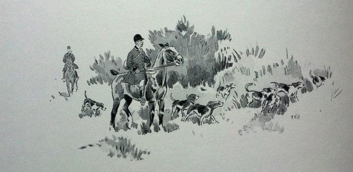 Rallye Guaneyre - Illustration tirée de l'ouvrage La Vénerie française contemporaine (1914) - Le Goupy (Paris)
