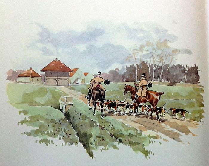 L'Equipage Champchevrier - Illustration tirée de l'ouvrage La Vénerie française contemporaine (1914) - Le Goupy (Paris)