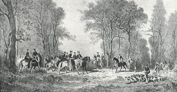 Illustration tirée de l'ouvrage La Chasse à travers les Âges - Comte de Chabot (1898) - A. Savaète (Paris) - BnF (Gallica) Napoléon III -Gravure