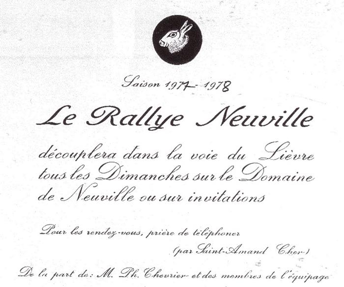 Rallye Neuville - Tiré de l'ouvrage Deux Siècles de Vènerie à travers la France - H. Tremblot de la Croix et B. Tollu (1988)