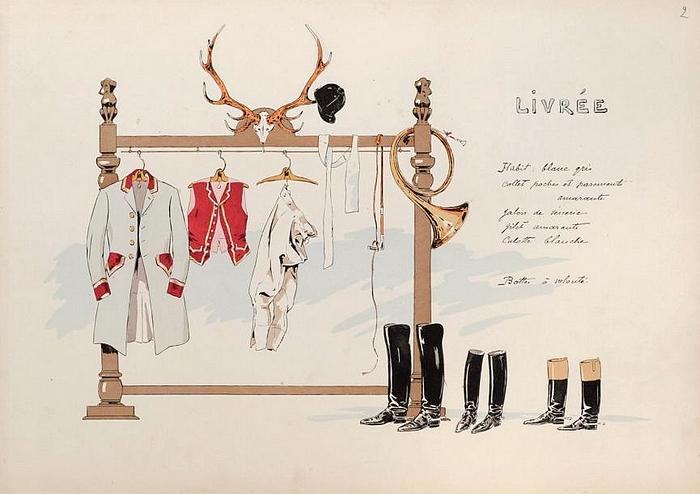 Illustration tirée de de l'ouvrage L'Equipage du Francport paru en 1910 - Société de Vènerie