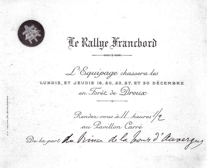 Rallye Francbord - Tiré de l'ouvrage Deux Siècles de Vènerie à travers la France - H. Tremblot de la Croix et B. Tollu (1988)