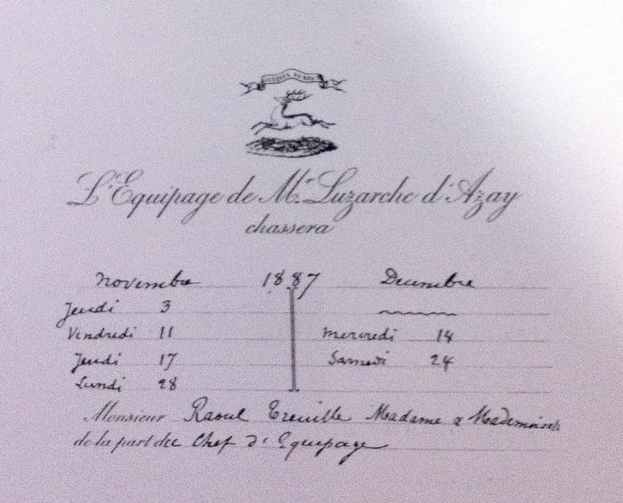 Azay - Tiré de l'ouvrage Deux Siècles de Vènerie à travers la France - H. Tremblot de la Croix et B. Tollu (1988)