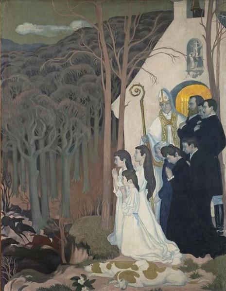 La Légende de Saint-Hubert : l'ermitage © RMN-Grand Palais Benoît Touchard - Saint-Germain-en-Laye, musée Maurice Denis. Tableau destiné à orner le bu