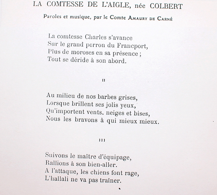 Paroles de La Comtesse de L'Aigle