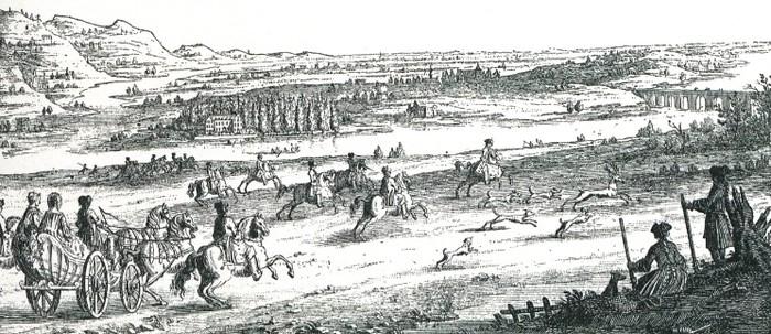 Gravure du XVIIIe siècle - Illustration tirée de l'ouvrage La Chasse à travers les Âges - Comte de Chabot (1898) - A. Savaète (Paris) - BnF (Gallica)
