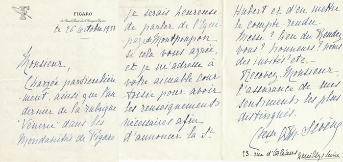 Correspondance - 1933