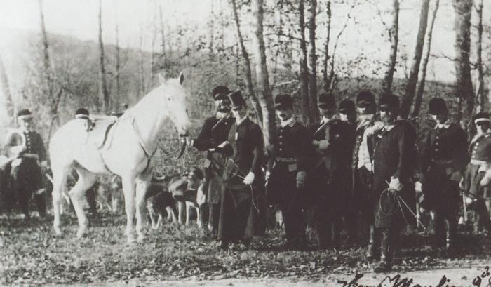 Le marquis de Lubersac, Albert de Bertier, Henri et Roger de Chézelles - Don de M. A.-P. Baudesson à la Société de Vènerie