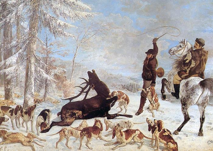 L'Hallali du cerf (1867) par Gustave Courbet - Le maître d'équipage est à cheval, le piqueur tient le fouet - Image libre de droit
