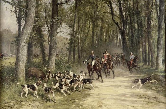 Le duc d'Orléans chassant à courre au Bosquet de Sylvie en 1841 - XIXe siècle - © Joconde - Chantilly - Musée Condé