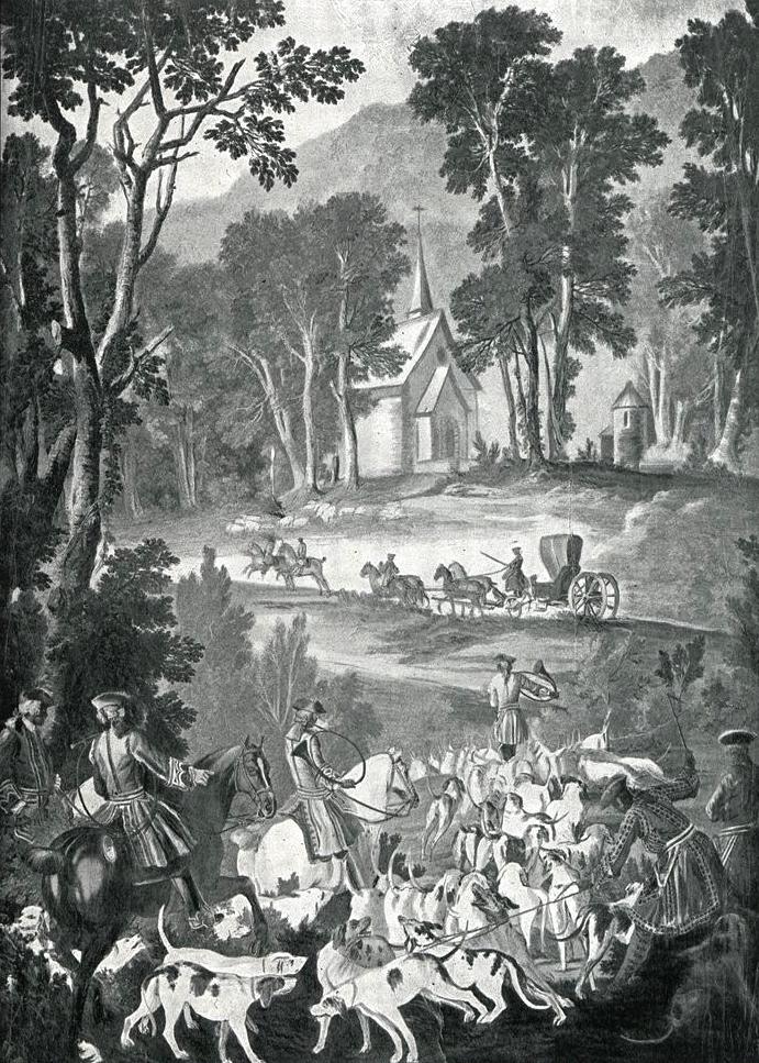 Tapisserie des Gobelins, d'après Oudry 2 - Illustration tirée de l'ouvrage La Chasse à travers les Âges - Comte de Chabot (1898) - A. Savaète - (Galli