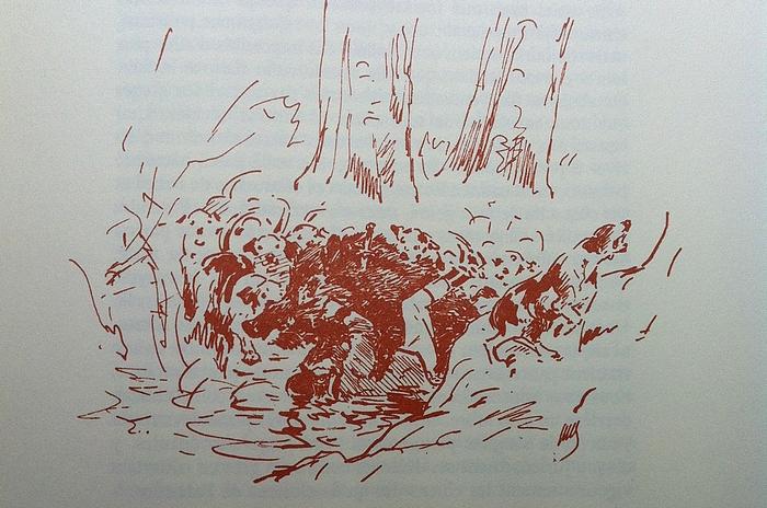 Le comte de Montmort servant un sanglier - Tirée de Les Hommes des Bois (2008) - R. d'Osmond - Bibliothèques des introuvables (Paris)