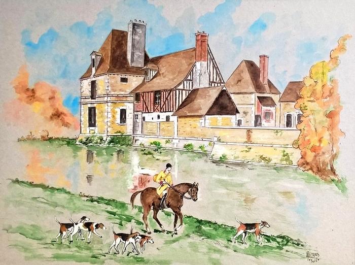 Devant le manoir du Hom à Beaumont-le-Roger par Jean-Pierre Boitard - Don de l'artiste à la Société de Vènerie