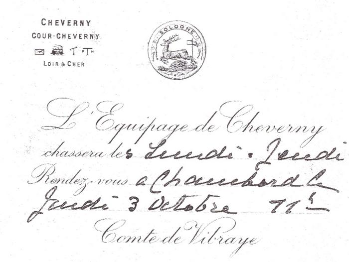 Equipage de Cheverny - Tiré de l'ouvrage Deux Siècles de Vènerie à travers la France - H. Tremblot de la Croix et B. Tollu (1988)