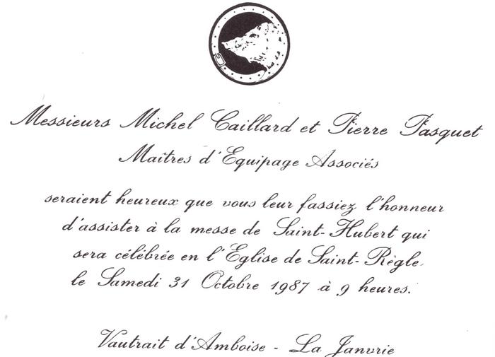 Equipage d'Amboise - Tiré de l'ouvrage Deux Siècles de Vènerie à travers la France - H. Tremblot de la Croix et B. Tollu (1988)