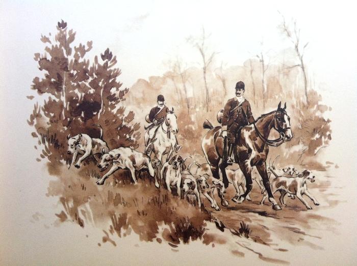 L'Equipage Simony - Illustration tirée de l'ouvrage La Vénerie française contemporaine (1914) - Le Goupy (Paris)
