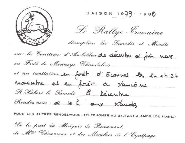 Rallie Touraine - Tiré de l'ouvrage Deux Siècles de Vènerie à travers la France - H. Tremblot de la Croix et B. Tollu (1988)