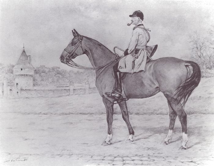 Le marquis de Contades-Gizeux en tenue de Champchevrier - Tiré de l'ouvrage Deux Siècles de Vènerie à travers la France - H. Tremblot de la Croix et B