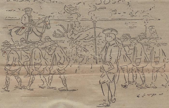 L'Equipage Menier en tenue Louis XV - Don de M. A.-P. Baudesson à la Société de Vènerie